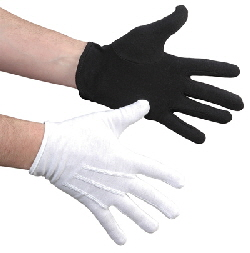 Gloves White Cotton Mime Pantomime Dance Color Guard